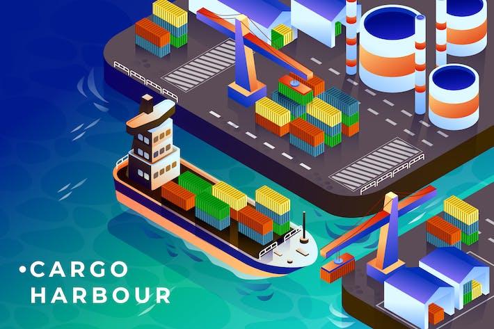 Cargo Harbour - Ilustración Vector isométrica