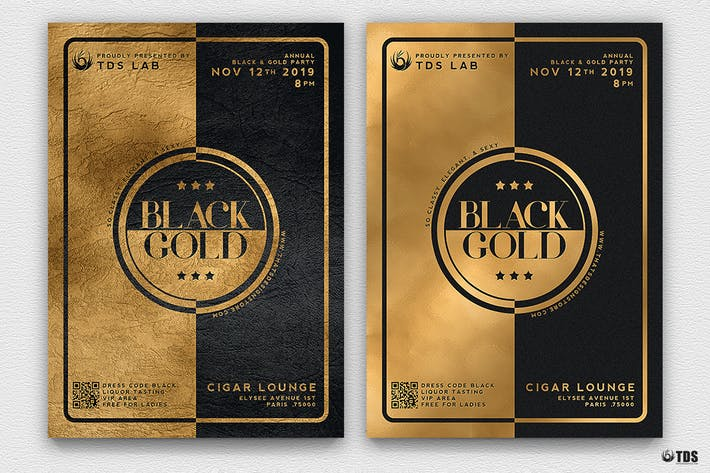 Thumbnail for Minimal Black and Gold Flyer Template V4