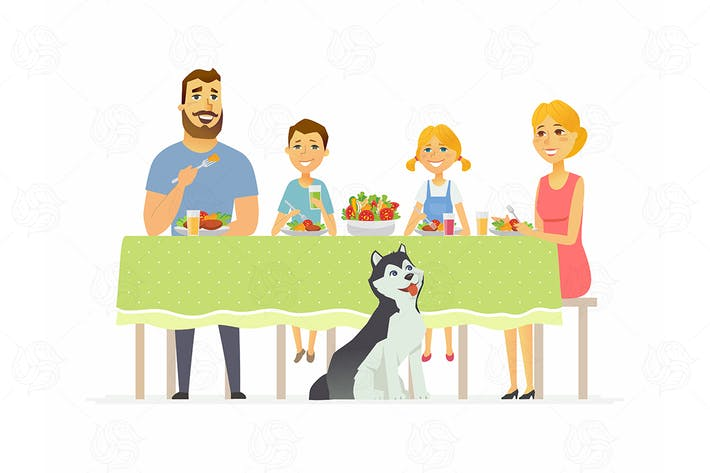 Thumbnail for Family having dinner - vector illustration