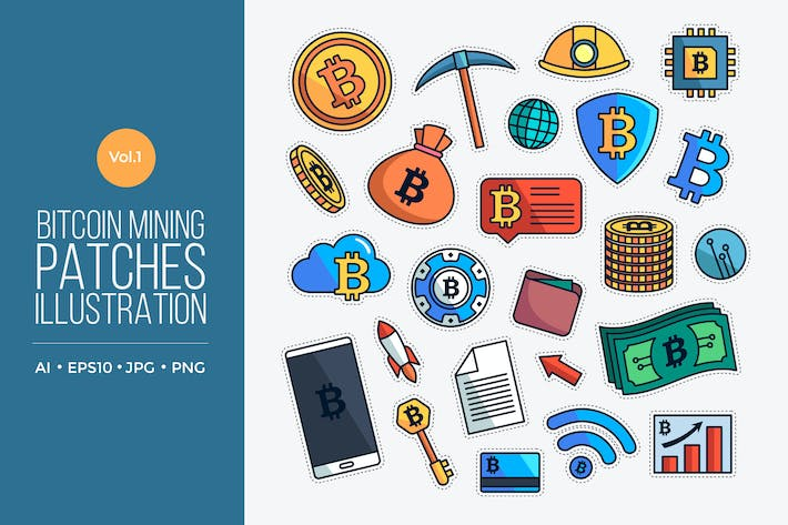 Cover Image For Bitcoin Mining Patches Vector Vol.1