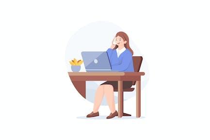 Consultora telefónica femenina en el lugar de trabajo