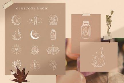White Decorative Design Elements with Gemstones.