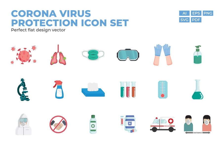 Coronavirus Protection Icon Set