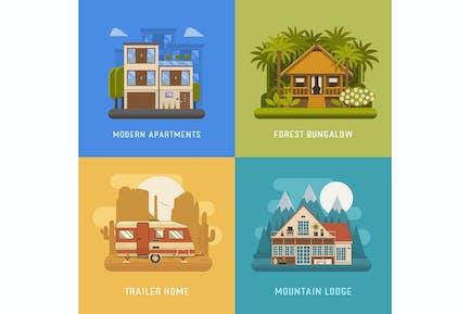Häuser und Wohnplätze Set