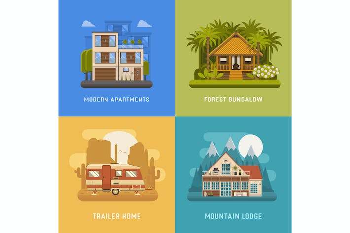 Houses and Living Places Set