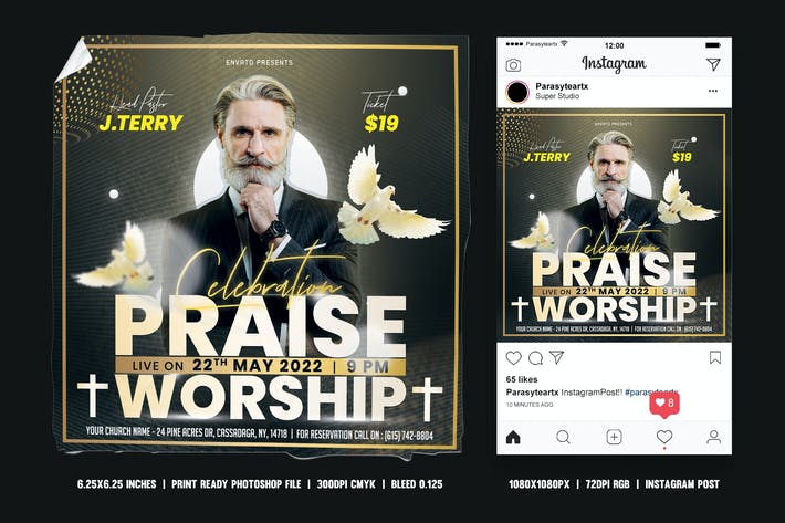 Cover Image For Church Anniversary Square Flyer & Instagram Post