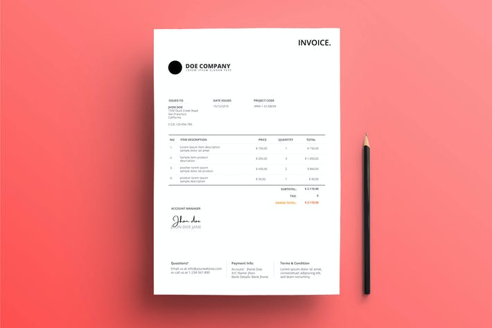 Invoice Business with Grey Red Color