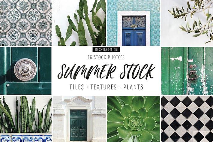Summer stock, tiles, texture, plants