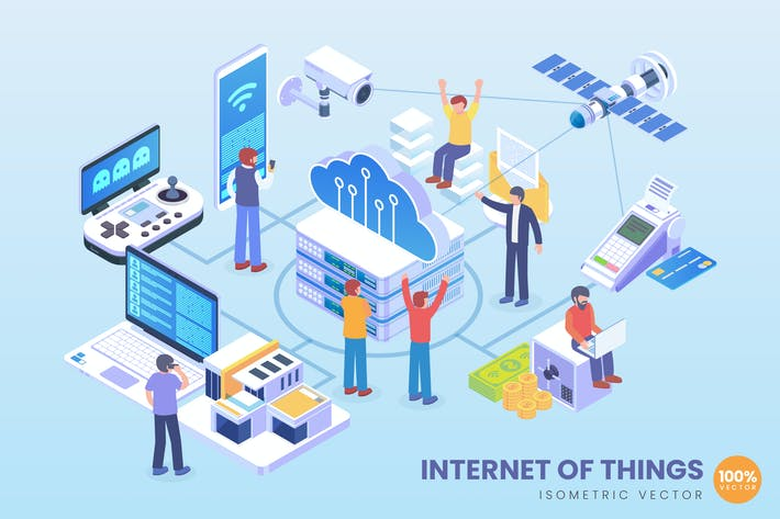 Thumbnail for Isometric Internet of Things Application Vector