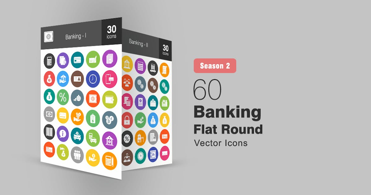 Download 60 Banking Flat Round Icons Season II by IconBunny