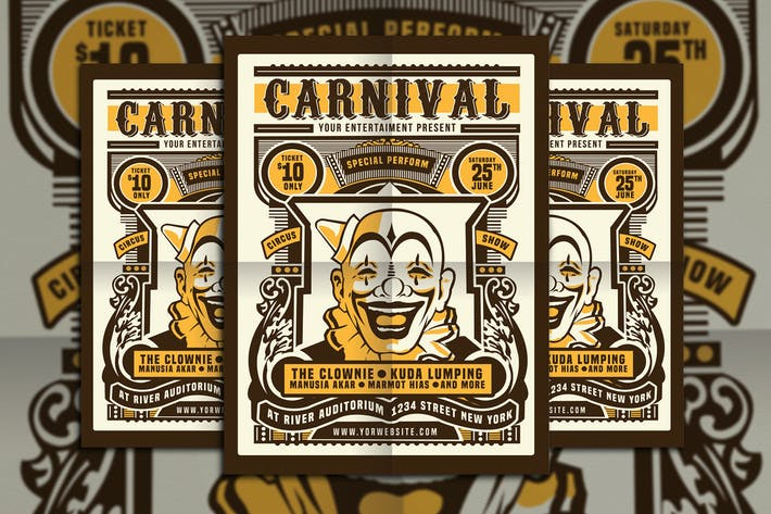 Thumbnail for Vintage Circus Carnival Flyer Poster