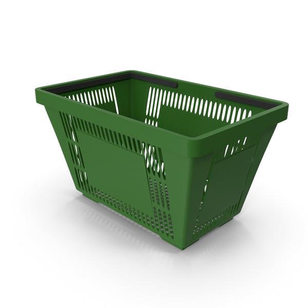 Зеленая корзина для покупок с пластиковыми ручками