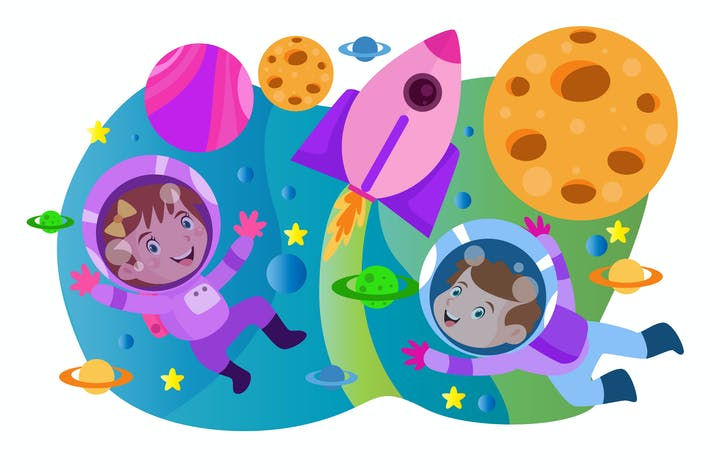 Kleiner Astronaut - Vektor Kinder Illustration