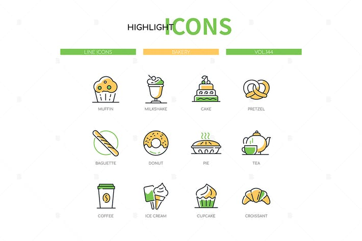 Bakery shop - modern line design style icons set