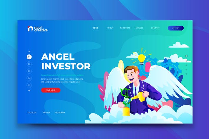 Thumbnail for Angel Investor Web PSD and AI Vector Template