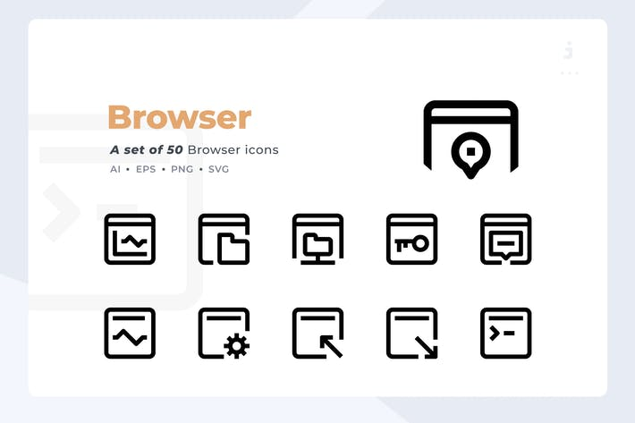 Cover Image For Material Icon - 50 Browser and Interface icon set