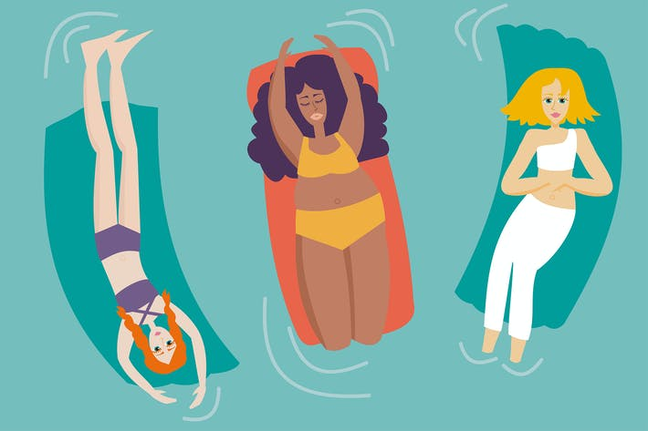 Thumbnail for Women with different body shapes enjoying the pool