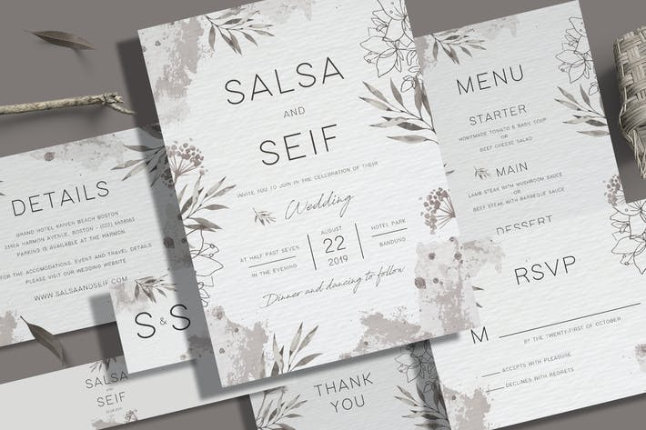 Thumbnail for Monochrome Foliage Wedding Invitation