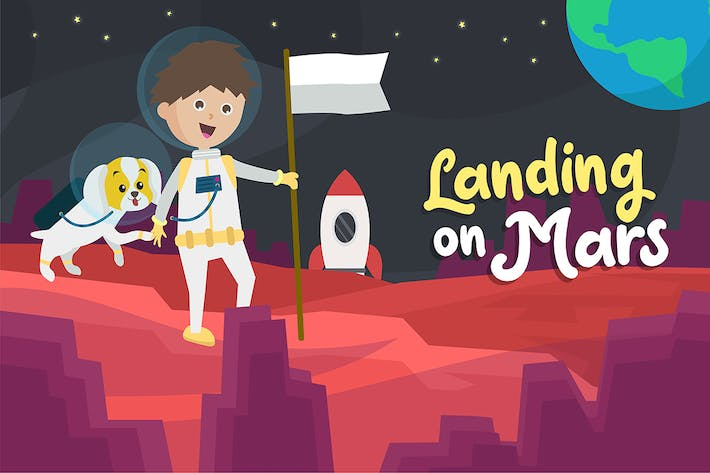 Thumbnail for Landing on Mars - Vector Illustration