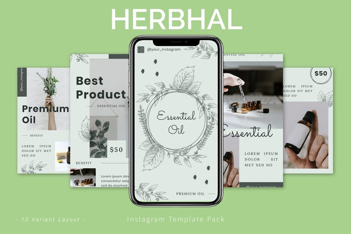 Thumbnail for Herbhal - Instagram Template Pack