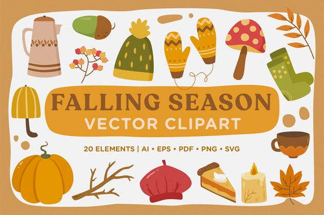 Falling Season Vector Clipart Pack - product preview 4