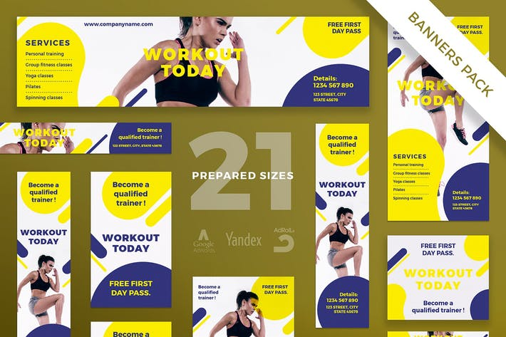 Thumbnail for Gym Workout Banner Pack Template