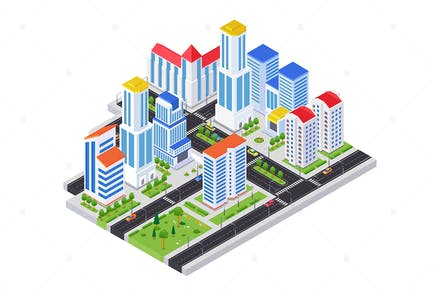 Housing complex - colorful isometric illustration