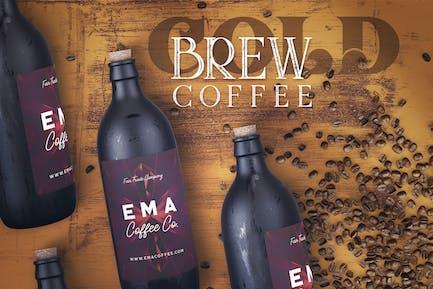 Frío Brew Botella de Café Mock-up 1