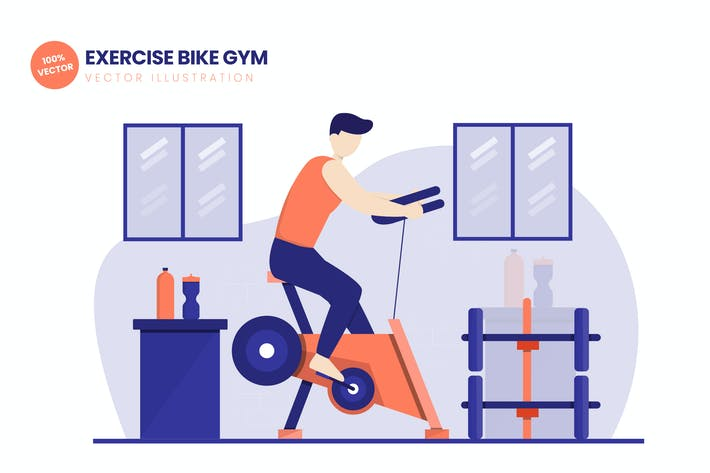 Thumbnail for Exercise Bike Gym Flat Vector Illustration
