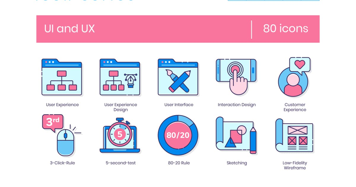 Download 80 UX and UI Line Icons by Krafted