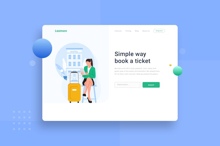 Thumbnail for Looking for hotels Landing page Illustration