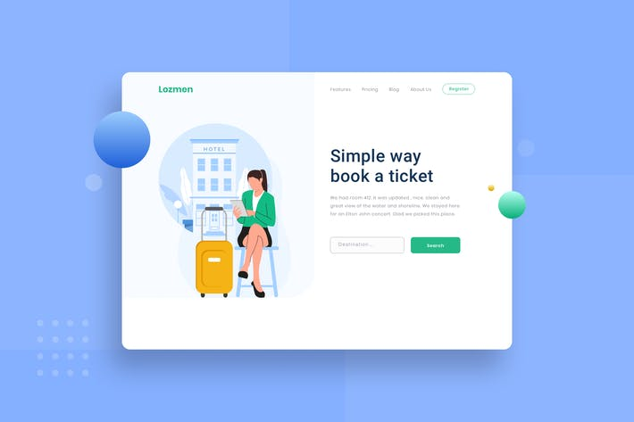 Looking for hotels Landing page Illustration
