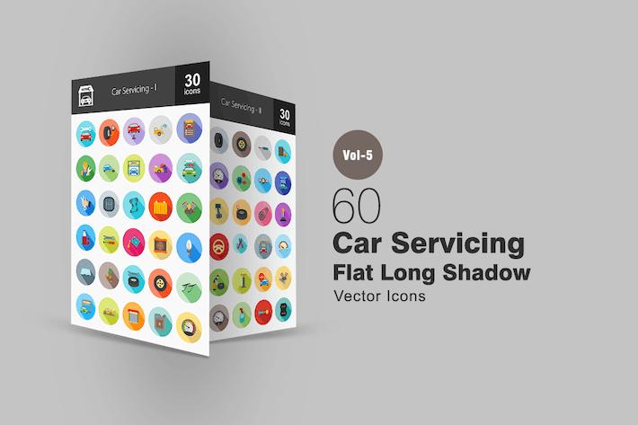 Thumbnail for 60 Car Servicing Flat Shadowed Icons