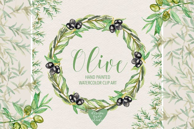 Watercolor Olive clipart