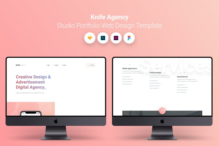Thumbnail for Knife Agency Studio Portfolio Web Design Template