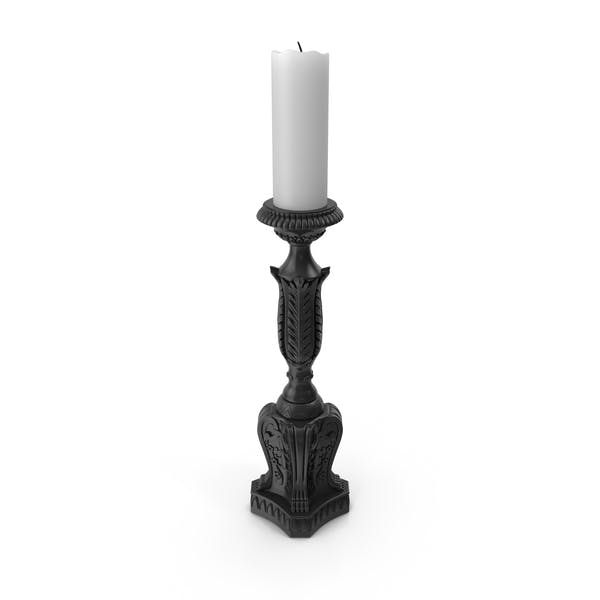 Black Baroque Candlestick
