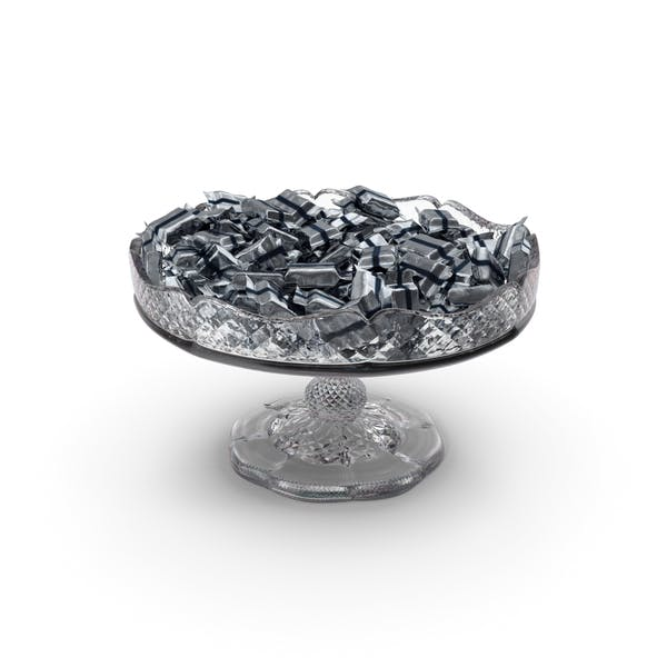 Fancy Crystal Bowl with Wrapped Small Candy Bars