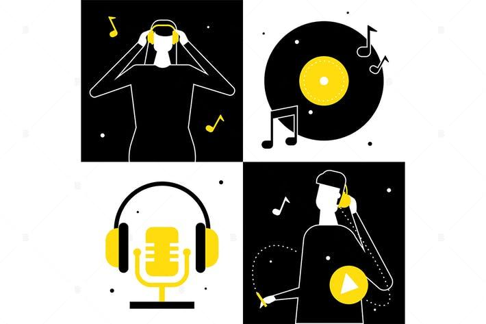 Thumbnail for Listening to music - flat design illustration