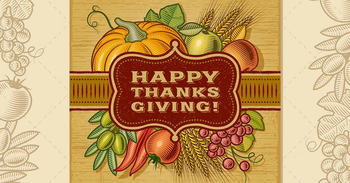 Happy Thanksgiving Retro Card by iatsun