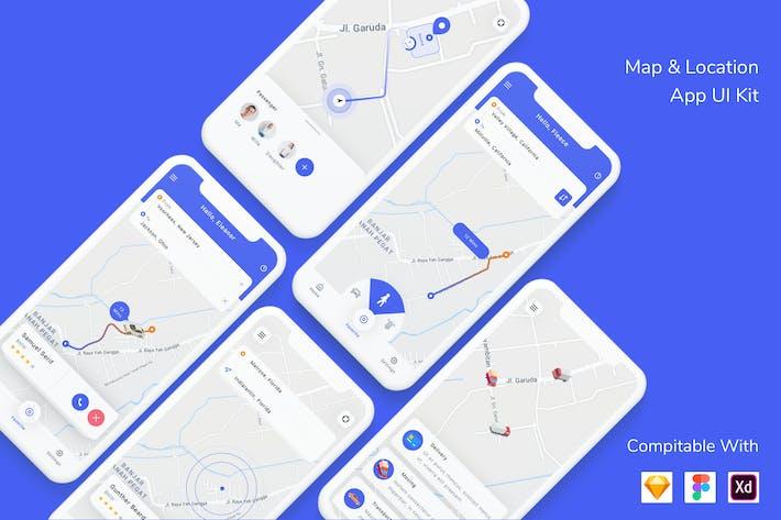 Набор пользовательского интерфейса Приложение карт и местоположений