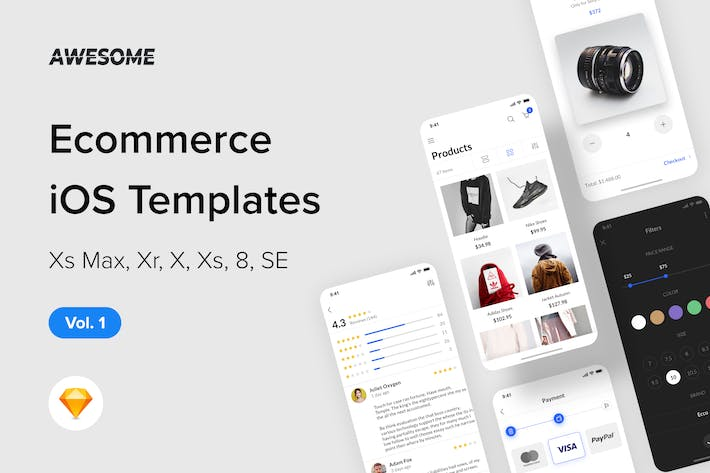 Thumbnail for Awesome iOS UI Kit - Ecommerce Vol. 1 (Sketch)