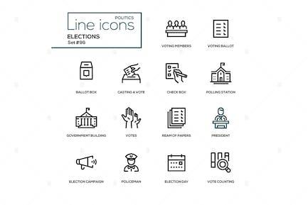 Elections - modern line design icons set