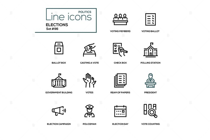 Elections - modern line design icons set