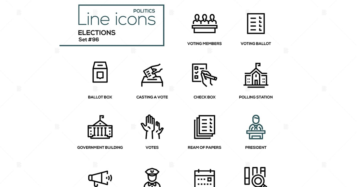 Elections - modern line design icons set by BoykoPictures