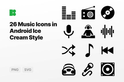 Music Icons in Android Ice Cream Style