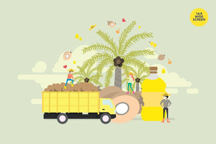 Thumbnail for Palm Oil Industry Vector Illustration Concept