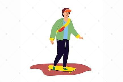 Teenager skateboarding - flat design illustration