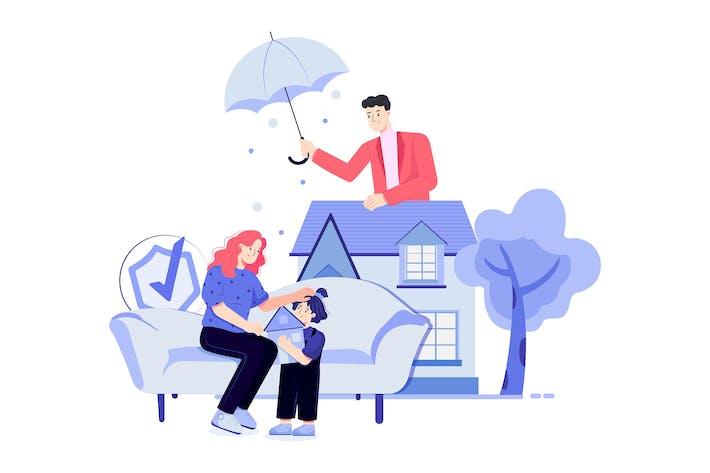Un hombre está sosteniendo un paraguas para cubrir la familia