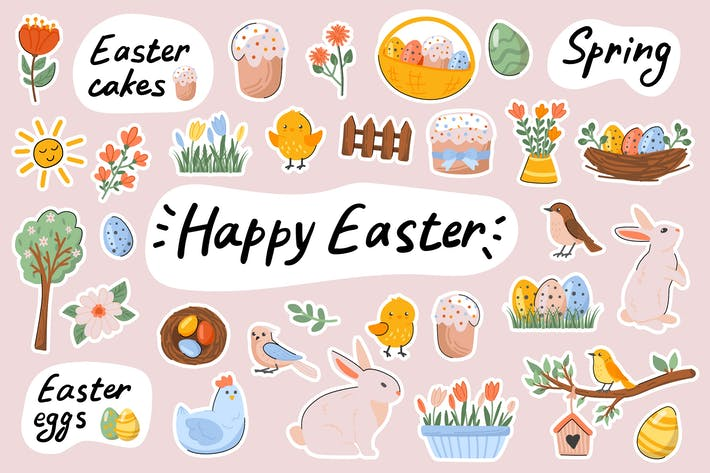 Happy Easter Cute Stickers Set