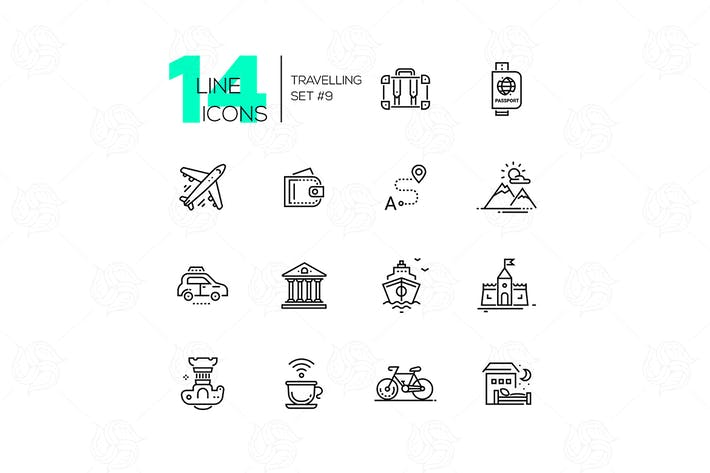 Thumbnail for Traveling - line icons set